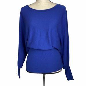 H & M wool blend dolman sleeves cobalt blue medium